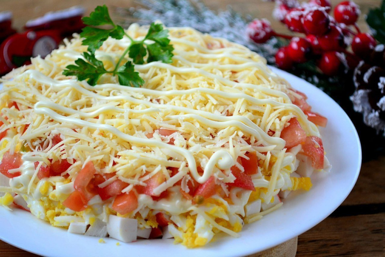 Салат с курицей крабовые палочки рецепт с кукурузой